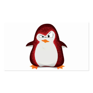 Angry Penguin Red Glitter Photo Print Business Card Template