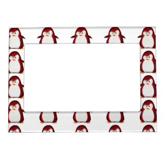 Angry Penguin Red Glitter Photo Print Magnetic Photo Frame