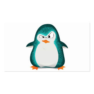 Angry Penguin Teal Glitter Photo Print Business Card Templates