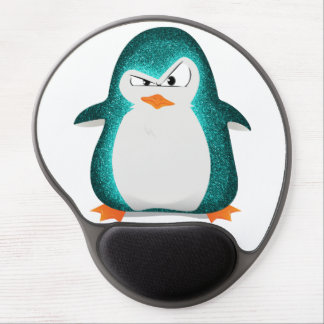 Angry Penguin Teal Glitter Photo Print Gel Mouse Pad