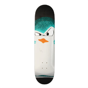 Angry Penguin Teal Glitter Photo Print Skateboard