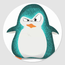 Angry penguin teal.png classic round sticker