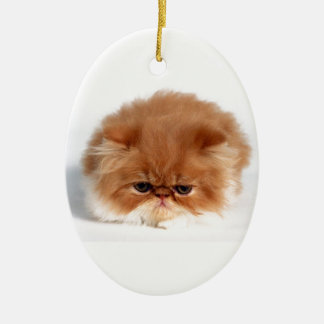 Angry Persian Puff Ball Kitten Christmas Tree Ornaments