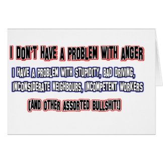 Angry person designs cards