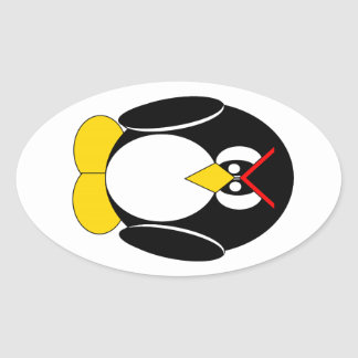 Angry Pietro the Penguin Oval Sticker