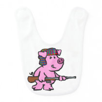 Angry pig hunter cartoon baby bib