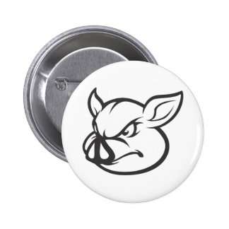 Angry Pig Illustration Button