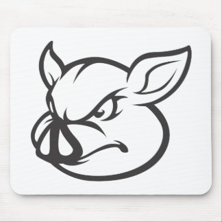 Angry Pig Illustration Mouse Pad