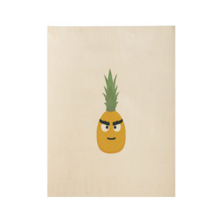 angry pineapple wood poster