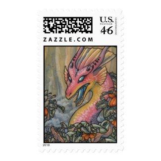 Angry pink dragon postage stamp