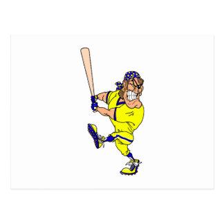 Angry pirate batter baseball postcard