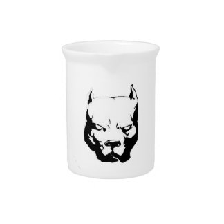 Angry Pitbull Dog Drink Pitcher