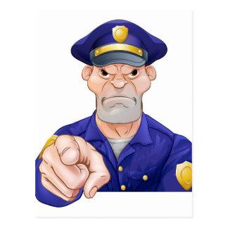Angry Pointing Policeman Postcard