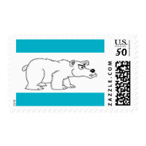 Angry polar bear design cards and paper products postage