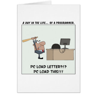 Angry Programmer Hits Computer Greeting Card