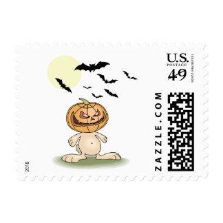 Angry Pumpkin Bunny Postage Stamps