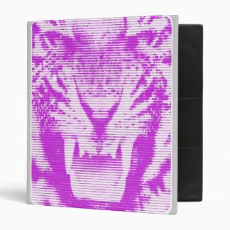 Angry Purple Tiger Horizontal Lines 3 Ring Binder