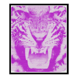 Angry Purple Tiger Horizontal Lines Poster