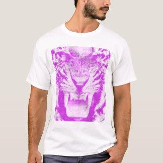 Angry Purple Tiger Horizontal Lines T-Shirt