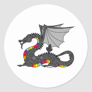 Angry Rainbow Dragon Classic Round Sticker
