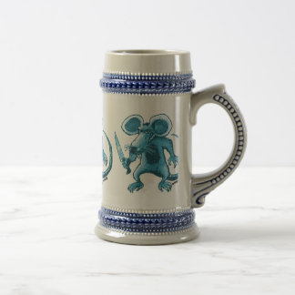 angry rat with knife beer stein