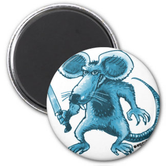 angry rat with knife blue contour 2 inch round magnet