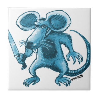 angry rat with knife blue contour tile