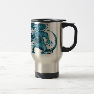 angry rat with knife blue contour travel mug