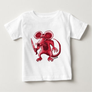 angry rat with knife red contour baby T-Shirt
