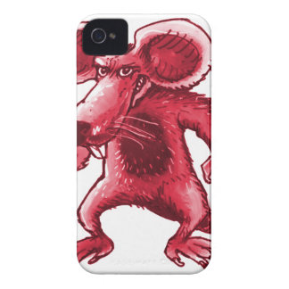angry rat with knife red contour Case-Mate iPhone 4 cases
