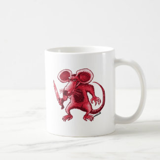 angry rat with knife red contour coffee mug