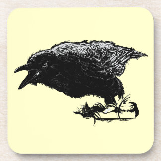 Angry Raven in Black Pick Your Background Drink Coaster