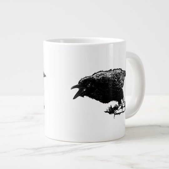 Angry Raven in Black Pick Your Background Giant Coffee Mug