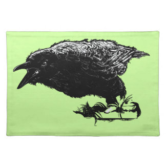 Angry Raven in Black Pick Your Background Placemat