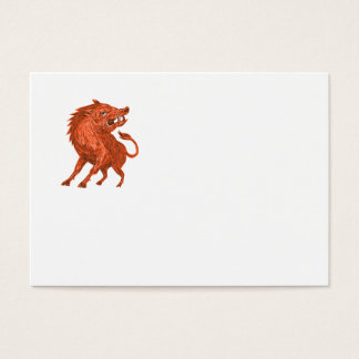 Angry Razorback Ready To Attack Drawing Business Card