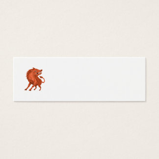 Angry Razorback Ready To Attack Drawing Mini Business Card