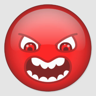 Angry red classic round sticker