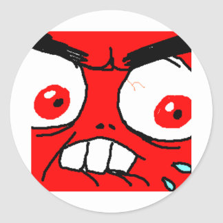 Angry Red Rage Face Round Stickers