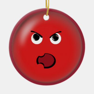 Angry Red Smiley Ceramic Ornament