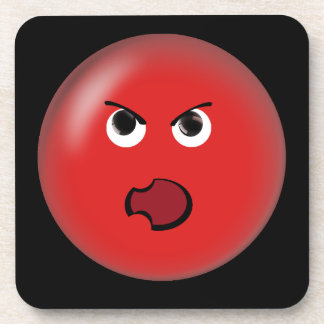Angry Red Smiley Drink Coaster