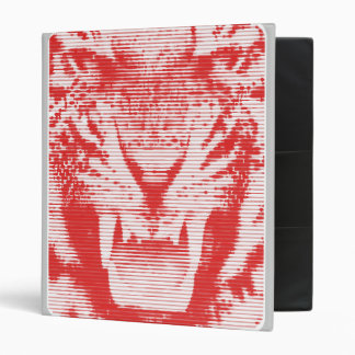Angry Red Tiger Horizontal Lines 3 Ring Binder
