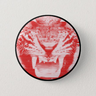 Angry Red Tiger Horizontal Lines Button