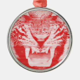 Angry Red Tiger Horizontal Lines Metal Ornament