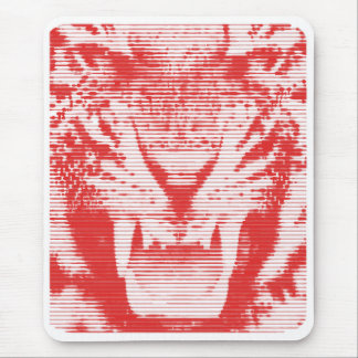 Angry Red Tiger Horizontal Lines Mouse Pad