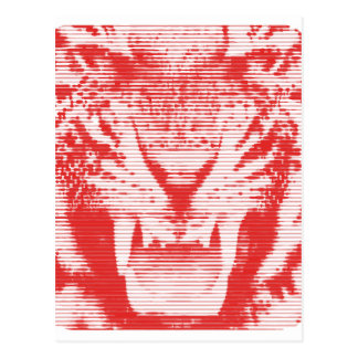 Angry Red Tiger Horizontal Lines Postcard