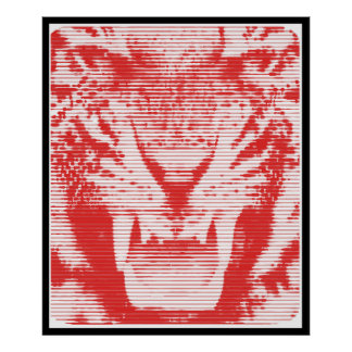 Angry Red Tiger Horizontal Lines Poster