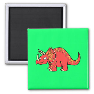 Angry Red Triceratops - Dinosaur-gifts.com 2 Inch Square Magnet
