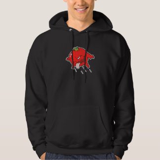 angry rotten tomato cartoon character hoodie