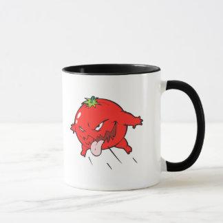 angry rotten tomato cartoon character mug