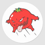angry rotten tomato cartoon character round sticker